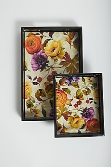 Multi Color Contemporary Floral Trays (Set of 2) by Assemblage