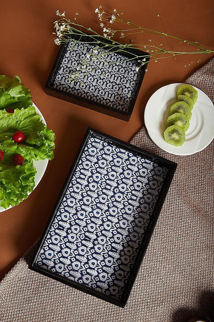 Indigo Patola Fabric Print Trays (Set of 2) by Assemblage