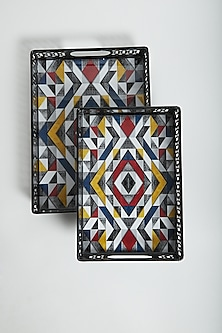 Multi Colored Artwork Trays (Set of 2) by Assemblage