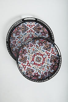 Multi Colored Moroccan Artwork Trays (Set of 2) by Assemblage