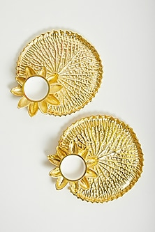 Gold Lotus T-Light Platters (Set of 2) by Assemblage