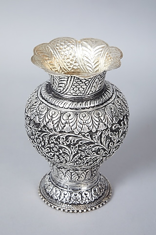 Antique Silver Plated Hand Carved Floral Vase by Assemblage