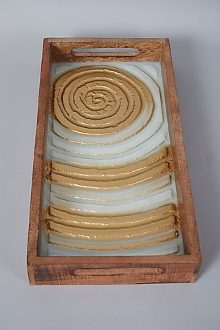 Gold & Ivory Swirl Platter Tray by Assemblage