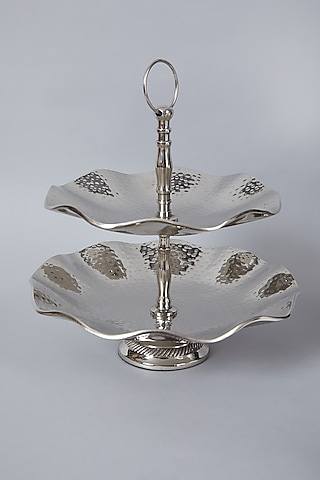 Silver Metal Two Tier Cupcake & Fruit Stand by Assemblage