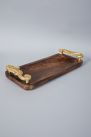 Brown Platter With Golden Seahorse Handles by Assemblage