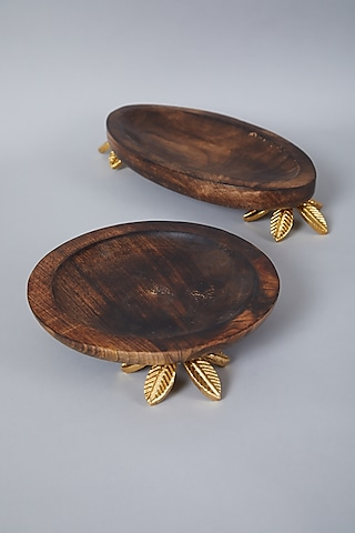 Brown Wooden Oval Platter by Assemblage