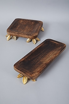 Brown Wooden Square Platter Set (Set of 2) by Assemblage
