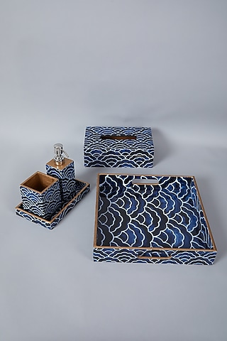 Blue & Black Bathroom Organiser Set (Set of 5) by Assemblage