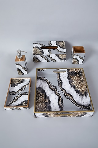 Grey & Black Bathroom Organiser Set (Set of 5) by Assemblage