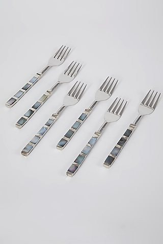 Silver Stainless Steel Fork Set (Set of 6) by Assemblage