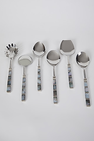 Silver Stainless Steel Serving Spoon Set (Set of 6) by Assemblage