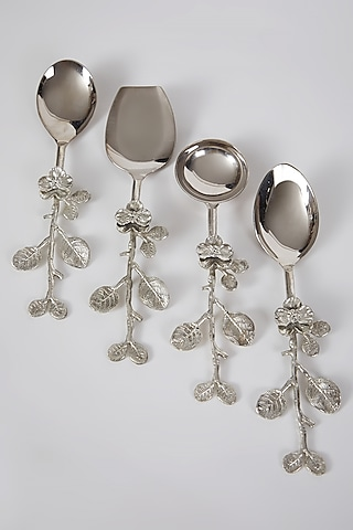 Silver Stainless Steel & Brass Floral Spoon Set (Set of 4) by Assemblage