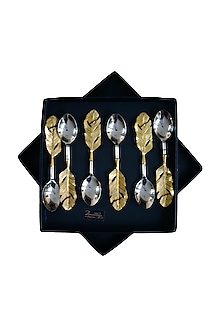 Vintage Gold & Silver Feather Spoon (Set of 6) by Assemblage