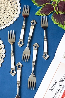 Ivory & Silver Mother of Pearl Taj Fork (Set of 6) by Assemblage