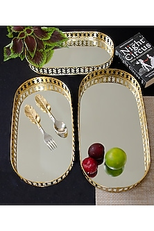 Victorian Gold & Silver Oval Tray set with Mirror by Assemblage