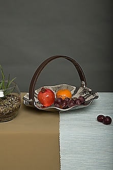 Premium Nickel Plated Basket With Tan Handle by Assemblage