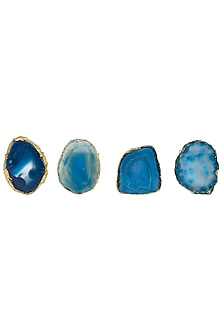 Blue Agate Stone Napkin Rings by Assemblage