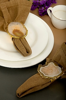 Brown Agate Stone Napkin Rings by Assemblage
