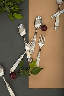 Mother Of Pearl Spoon & Fork Set (Set of 12) by Assemblage