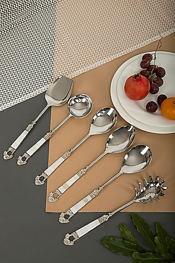 Mother Of Pearl & Brass Spoon Set (Set of 6) by Assemblage