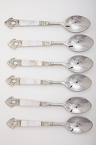 Silver Stainless Steel Spoons (Set of 6) by Assemblage
