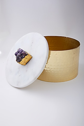 Gold Metal Box With Amethyst Marble Lid by Assemblage