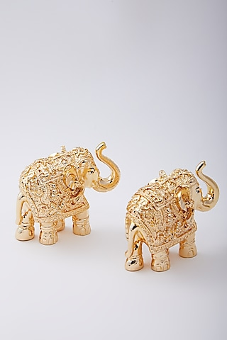 Gold Plated Resin Royal Elephant by Assemblage