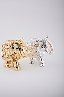 Gold & Silver Plated Resin Royal Elephant (Set of 2) by Assemblage
