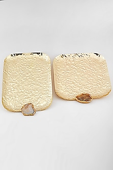 Gold Crinkled Rectangle Platters (Set of 2) by Assemblage