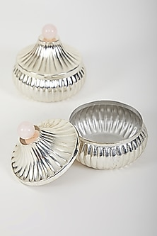 Silver Plated Jars With Rose Pink Quartz by Assemblage