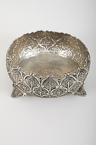 Silver Plated Urli With Lotus Motifs by Assemblage