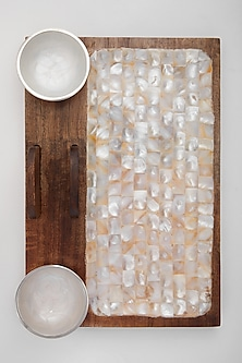 Brown Mango Wood & Mother of Pearl Platter by Assemblage