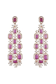 Gold Finish Pink Zircon Earrings by Aster