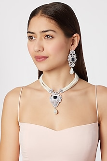 White Finish Pearl & Diamond Necklace Set by Aster