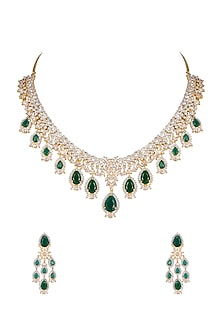 Gold Finish Diamond Necklace Set by Aster-JEWELLERY ON DISCOUNT