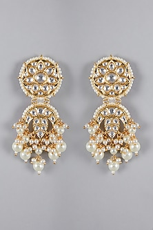Gold Finish Kundan Jhumka Earrings by Aster