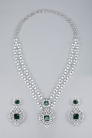 Silver Finish Green Zircon Necklace Set by Aster