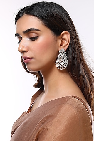 White Finish Diamond Earrings by Aster