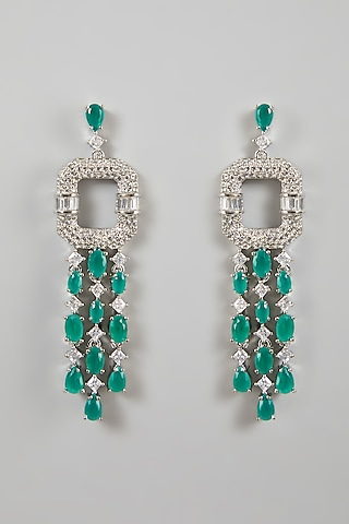 White Finish Diamond Earrings by Aster