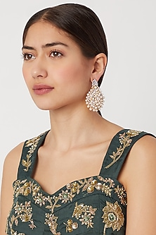 Gold Finish Diamond & Pearl Earrings by Aster