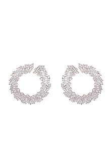 Gold Finish Diamond Curved Earrings by Aster