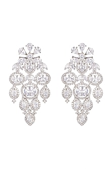 White Finish Stud Earrings With Diamonds by Aster