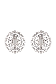 White Finish Stone Stud Earrings by Aster