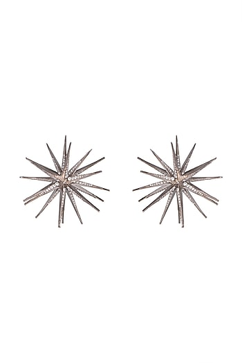 Black Rhodium Finish Spiked Earrings by Aster