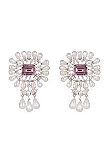White Finish Pearl Dangler Earrings by Aster
