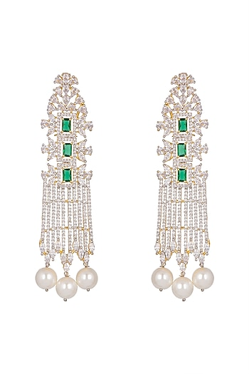 Gold Finish Pearl Earrings by Aster