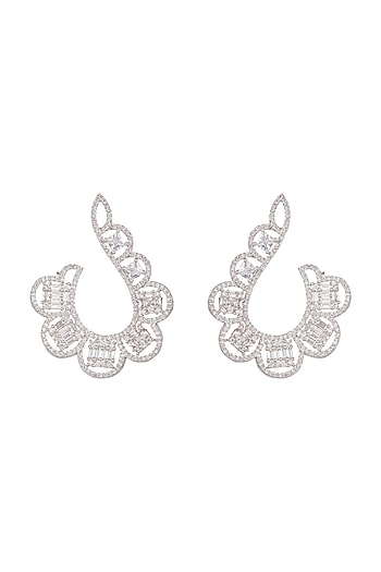 White Finish Curved Diamond Earrings by Aster