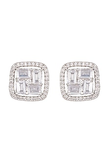 White Finish Faux Diamond Stud Earrings by Aster