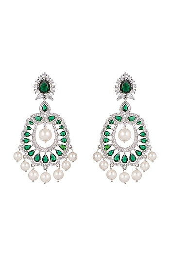 White Finish Green Stone Earrings by Aster