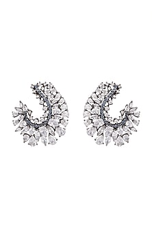 Black Rhodium Finish Blue Stone Earrings by Aster